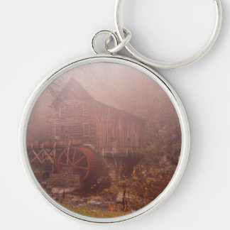 Morning Fog Silver-Colored Round Keychain