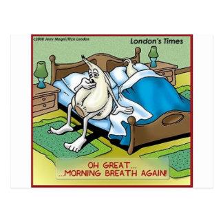 Morning Garlic Breath Funny Offbeat Cartoon Gifts Postcard