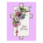 Morning Glories and Cross Vintage Easter Postcard
