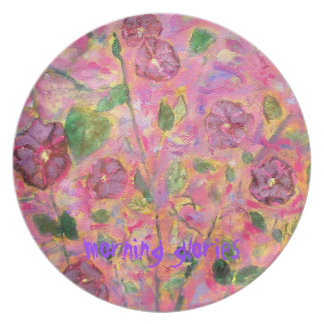 morning glories art party plate
