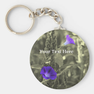 Morning Glories Black And White Flower Keychain