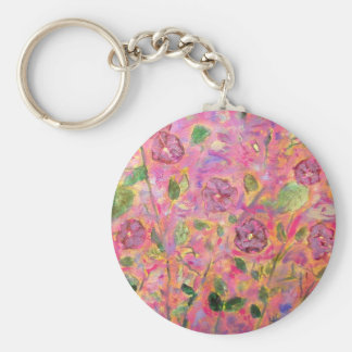 morning glories blue and purple basic round button keychain
