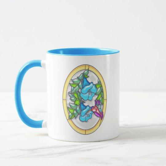 Morning Glories & Hummingbird Stained Glass Mug