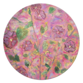 morning glories melamine plate