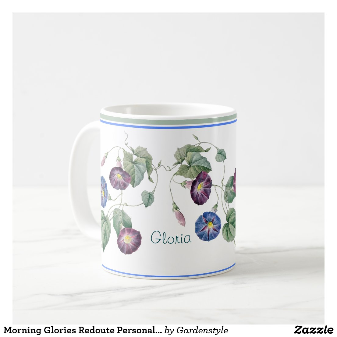 Morning Glories Redoute Personalized Coffee Mug