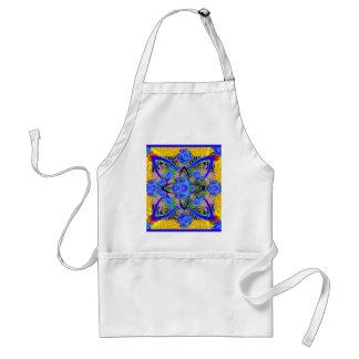 Morning Glories Yellow  Blue  Art Deco Patterns Adult Apron