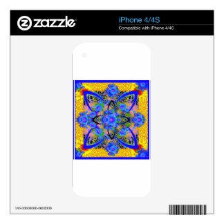Morning Glories Yellow  Blue  Art Deco Patterns Decals For iPhone 4