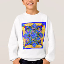 Morning Glories Yellow  Blue  Art Deco Patterns Sweatshirt
