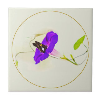 Morning Glory and Butterfly Ceramic Tile