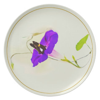 Morning Glory and Butterfly Melamine Plate