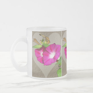 Morning Glory and Heart Frosted Glass Coffee Mug