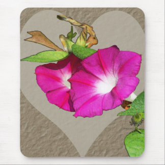 Morning Glory and Heart Mouse Pad