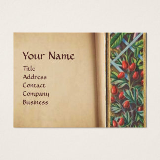 MORNING GLORY AND RED BERRIES MONOGRAM BUSINESS CARD