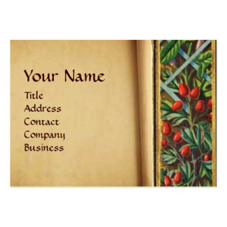 MORNING GLORY AND RED BERRIES MONOGRAM LARGE BUSINESS CARD