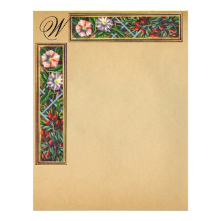 MORNING GLORY AND RED BERRIES MONOGRAM LETTERHEAD TEMPLATE