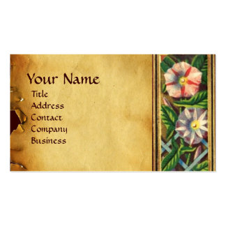 MORNING GLORY AND RED BERRIES PARCHMENT BUSINESS CARD