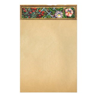 MORNING GLORY AND RED BERRIES PARCHMENT PERSONALIZED STATIONERY