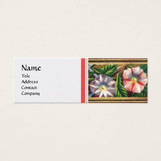 MORNING GLORY AND RED BERRIES WHITE PEARL PAPER MINI BUSINESS CARD
