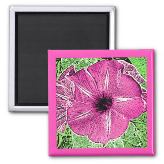 Morning Glory Block Print - fuchsia pink Magnet