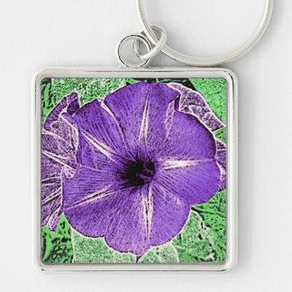 Morning Glory Block Print - soft violet Keychain