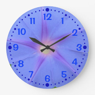 Morning Glory Blue Flower Lover Clock w/ Minutes
