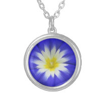Morning Glory Blue Silver Plated Necklace