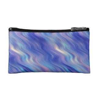 Morning Glory Blue Wavy Texture Cosmetics Bags