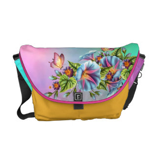 Morning Glory Butterflies Messenger Bag