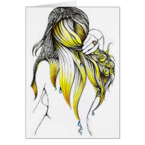 morning, glory, drops, water, hair, artsprojekt, white, minimalism, patricia, lady, long, vidour, fantasy, ink, drawing, simplicity, design, woman, femme, girl, decorating, clear, visual, accent, simple, illustration, fairy, inspiring, magic, black, land, imaginary, magical, female, creating by mental acts, beauty, Card with custom graphic design