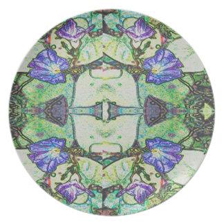 Morning Glory Design by Carole Tomlinson©2016 Melamine Plate