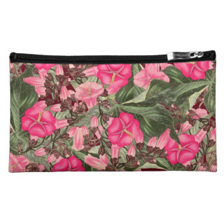 Morning Glory Floral Botanical Flowers Sueded Bag Makeup Bags