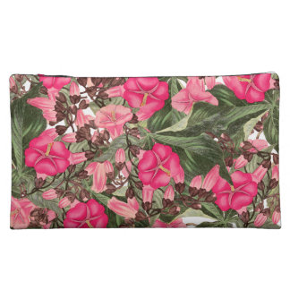 Morning Glory Floral Botanical Flowers Sueded Bag Cosmetics Bags