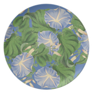 Morning Glory Floral Garden Botanical Flower Plate
