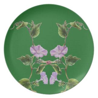 Morning Glory Floral Garden Botanical Flower Plate