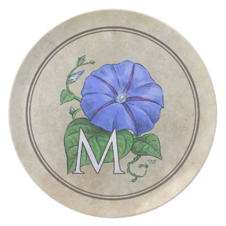 Morning Glory Flower Alphabet Monogram Melamine Plate