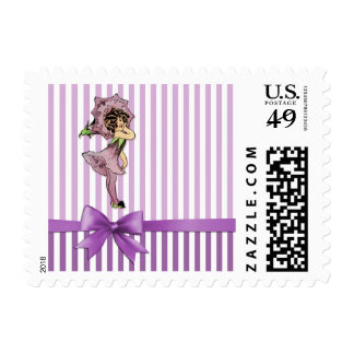 Morning Glory Flower Child Purple Fairy Gift Stamp