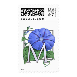 Morning Glory Flower Monogram Postage