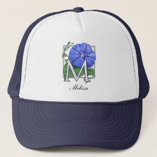 Morning Glory Flower Monogram Trucker Hat
