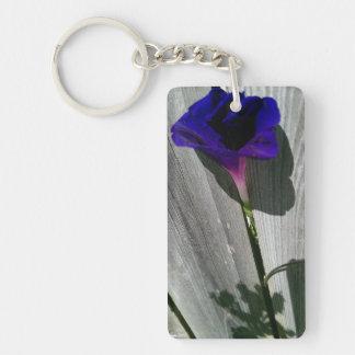 Morning Glory Flower Rectangular Key Chain