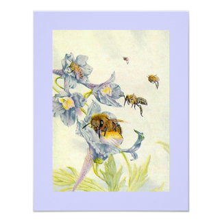 Morning Glory Flowers & Honey Bees Save The Date Card