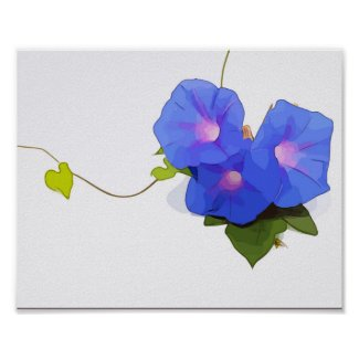 Morning Glory Flowers watercolor Poster