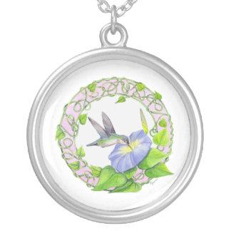 Morning Glory Hummingbird Wreath Round Pendant Necklace