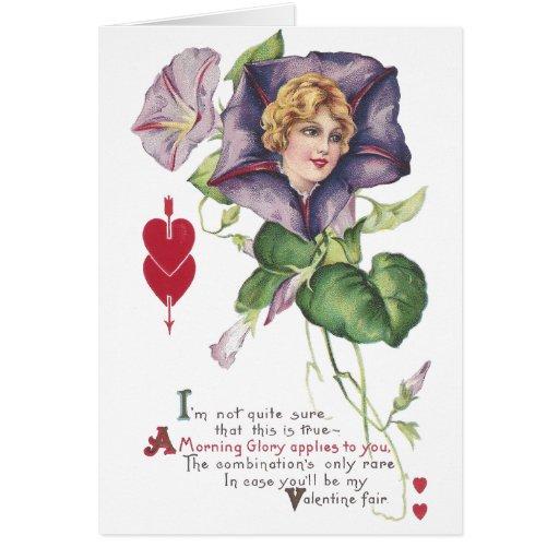 Morning Glory Lady Vintage Valentine Greeting Card