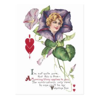 Morning Glory Lady Vintage Valentine Post Cards
