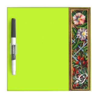 MORNING GLORY MONOGRAM Green Yellow Dry Erase Boards