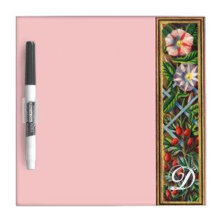 MORNING GLORY MONOGRAM Pink Dry Erase Boards