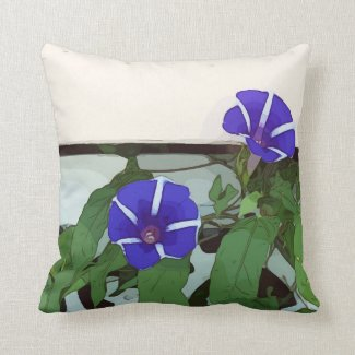 Morning Glory Purple flower with leaves Throw Pillow