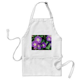 Morning Glory - Purple Flowers Green Leaves Apron