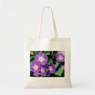 Morning Glory - Purple Flowers Green Leaves Tote Bag