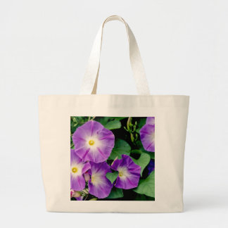 Morning Glory - Purple Flowers Green Leaves Canvas Bags